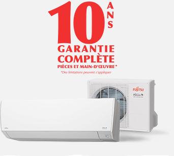 thermopompe Fujitsu garantie complète